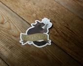 Herbalist Sticker // die-cut, high quality, big, raccoon, herbs, foraging