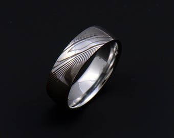Genuine stainless Damascus Steel Mens Ring PD103