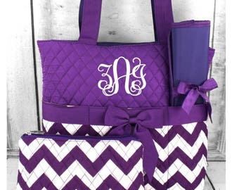 Monogrammed Quilted Diaper Bag.
