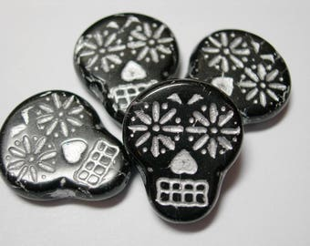 Czech glass Sugar Skull Beads - Black with Silver - 4 beads - 20mm x 17mm