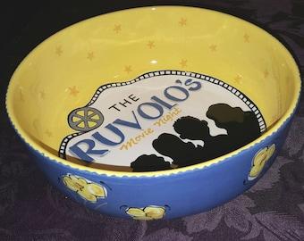 Popcorn Bowl, Personalized popcorn bowl, Movie Night, Family Popcorn Bowl, Family Gift, Family Movie Night, Large personalized Ceramic Bowl