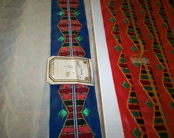 1 yard of a Hand loom embroidery deco period
