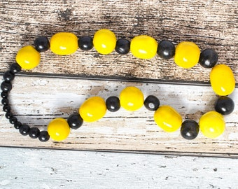 Yellow Bead Kazuri Necklace - Black and Yellow Statement Necklace - Kazuri Bead Yellow Necklace - Bold Necklace - Black Necklace - Bumblebee