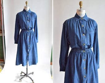 Vintage 1980s dark DENIM dress