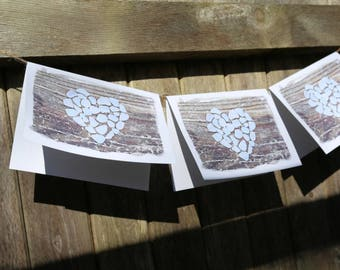 Beach Theme Heart Cards- Sea Glass cards, romantic cards, beach wedding card, beach glass, beach note card set, Valentine cards, anniversary