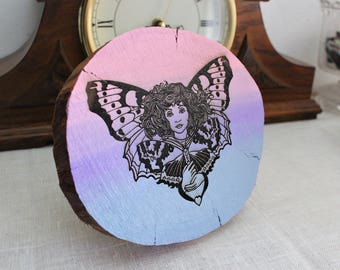 Butterfly Girl - Hand Painted Wood Slice Art