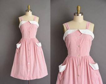 vintage 50s dress / 1950s pin pinstripe cotton summer vintage sun dress