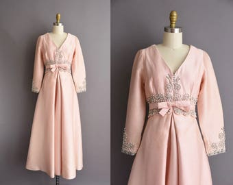 vintage 1960s pink silk cotton heavy beaded full length party dress Large 50s vintage gown