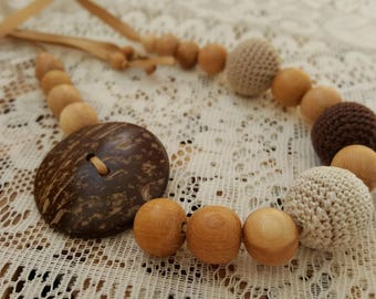 Coconut button coffee breastfeeding necklace Nursing Necklace Teething