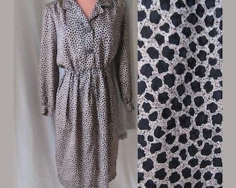 Animal Print Button Down Dress, Rhinestone Buttons, Secretary, Silky Polyester, Vintage 70s