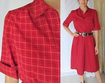 Vintage 70s Dress, Button Down, Secretary, Georgette Polyester, FITS 8-10 US