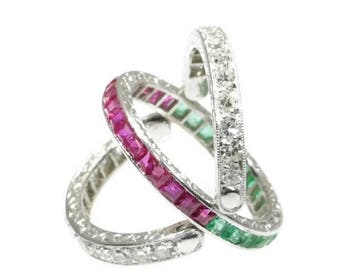 ON SALE Ruby Emerald Diamond Eternity Band Platinum Three Bands Size 5 Engraved can be worn different ways