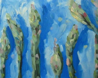 Asparagus Tips vegetable still life original oil painting 8x16 Art by Delilah