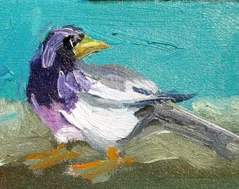 Bird aceo artist trading card oil painting miniature original Art by Delilah