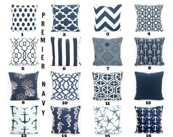 Navy Blue Pillow Covers Decorative Throw Pillow Cushion Covers Premier Navy Blue White Cotton Couch Bed One or more ALL SIZES Mix & Match