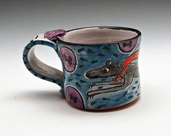 Small Greyhound Ceramic Coffee Mug - Gray Grey Dog - Dog Coffee Cup - Majolica - 10 oz ounces - Small Pottery Mug - Tea Cup - Super Dog Gift