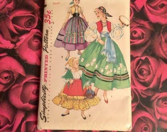 50's Vintage Child's costume Sewing Pattern