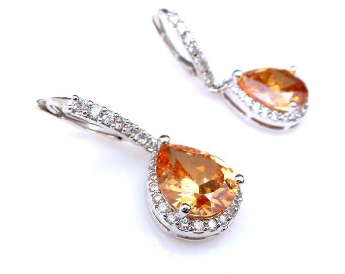 bridal wedding jewelry bridesmaid gift christmas prom rhodium champage teardrop micropave cubic zirconia leverback hook rhodium earrings