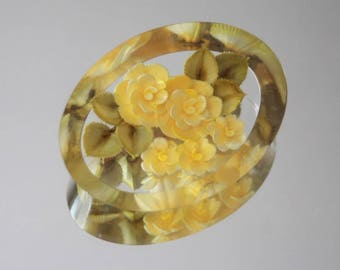 Vintage 70's Yellow Rosette 3d Lucite Brooch