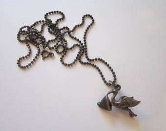 vintage sterling silver STORK with bundle charm on 24 inch sterling ball chain - baby, stork with baby charm