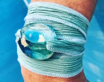 Beach Jewelry, silk wrap bracelet, ocean, worry stone, yoga bracelet, nature jewelry, fused glass by Designs by Leslie