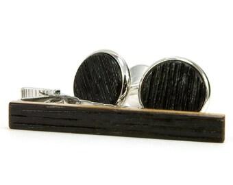 Wooden Cufflink Set - Wood Whiskey Barrel Cufflink Tie Clip Set - Tennessee Whiskey Silver Cufflink Tie Bar Set - Fathers Day Gift Idea