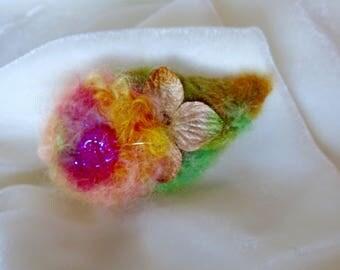 Hair Clip Enchanting Woodland Felted Hair Soft Rainbow Colors Green Leaf with  Hydrangea Blossom Wool Felt Clip Small Hair Clip Handmade