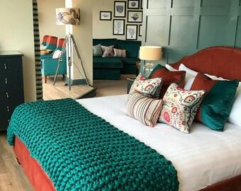 Giant Knit blanket Chunky wool Luxury Throw Merino Wool Blanket Home decor interior UK seller