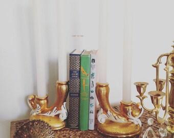 Beautiful Vintage Ornate 24k Gold LEMIEUX Candle Holder Set