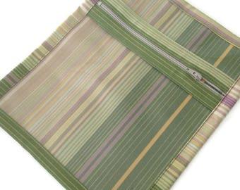 Jewelry  Bag Zippered Sac Vinyl Fabric Bag Green Stripe Organizer Pouch Knitter's Bag Make Up Storage Cosmetic Bag Travel Bag Accessory Bag
