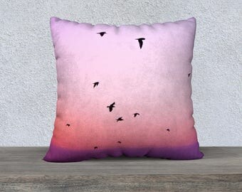 "Pink Sunset Birds Cushion Cover 22"" 55cm Large Square Pillow Case Zipper Velveteen Canvas Home Decor Nature Art Photography"