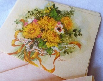 Vintage Yellow Floral Notecards Vintage Note Cards