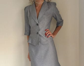 vintage gray suit 2 piece office secretary grey jacket skirt size medium interview business