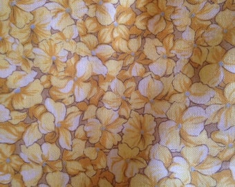 Buttery yellow Calico Floral Fabric Flowers Bees