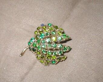 Vintage Green Rhinestone Brooch Pin