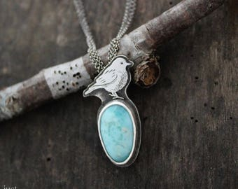Blue Bird pendant, sterling silver, Blue Larimar stone, ooak, hand crafted