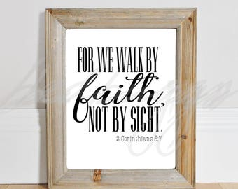 For we walk by faith svg, not by sight, bible verse svg, bible svg, scripture svg, cricut cut files, silhouette, vector, printable art