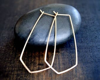 Chevron Hoop Earrings - Gold