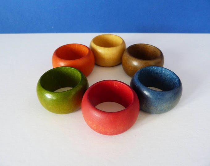 1970's vintage wooden napkin rings