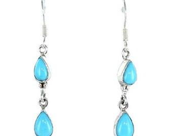 Summer Sale : ) Sleeping Beauty Turquoise 2 Stone Teardrop Earrings Sterling