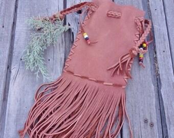 ON SALE Fringed drawstring pouch , Ready to ship,  Leather drawstring bag , Cedar bag