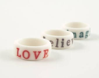 SALE Personalised white engraved stamped porcelain ring with bright colorful glazed  letters ,numbers,dates,initials, customize jewelry