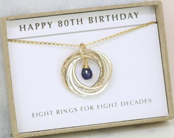 80th birthday gift, September birthday gift 80th, sapphire jewelry for mom - Lilia