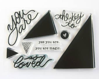 Studio Calico Bluegrass Farm Project Life PL Documenter You Are So Loved Triangles Heart SC 4x3 Clear Acrylic Stamp Set Unmounted USED