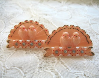 Vintage Love Birds Earrings ~ Clip On ~ Plastic ~ Rhinestone ~ Novelty ~ Unusual