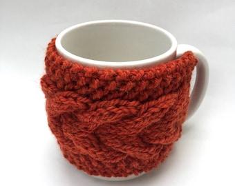mug cozy knitted mug warmer burnt  orange cup cozy