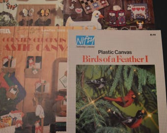 CLEARANCE /// BOOKS /// VINTAGE ///  4 plastic canvas leaflets, birds, chickens, country and butterflies, Used