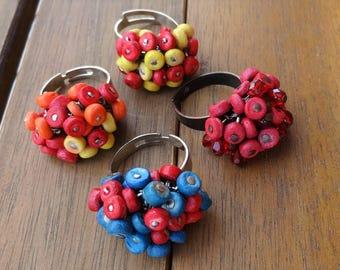 Blue Red Orange Beaded Rings - Summer Rings - Beach Rings