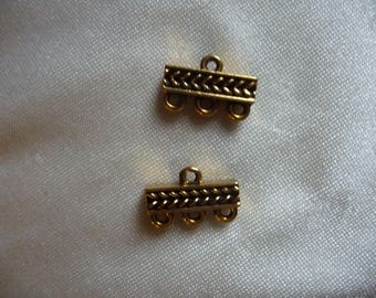 Links, Gold Plated Pewter Braided 3-1 Link. Sold per pack of 2 links.