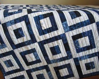 Blue Batik Quilt, Homemade Quilt, Patchwork Quilt, Lap Quilt, Quilted Throw, Handmade Quilt, Sofa Quilt, Home Dec, Quilts